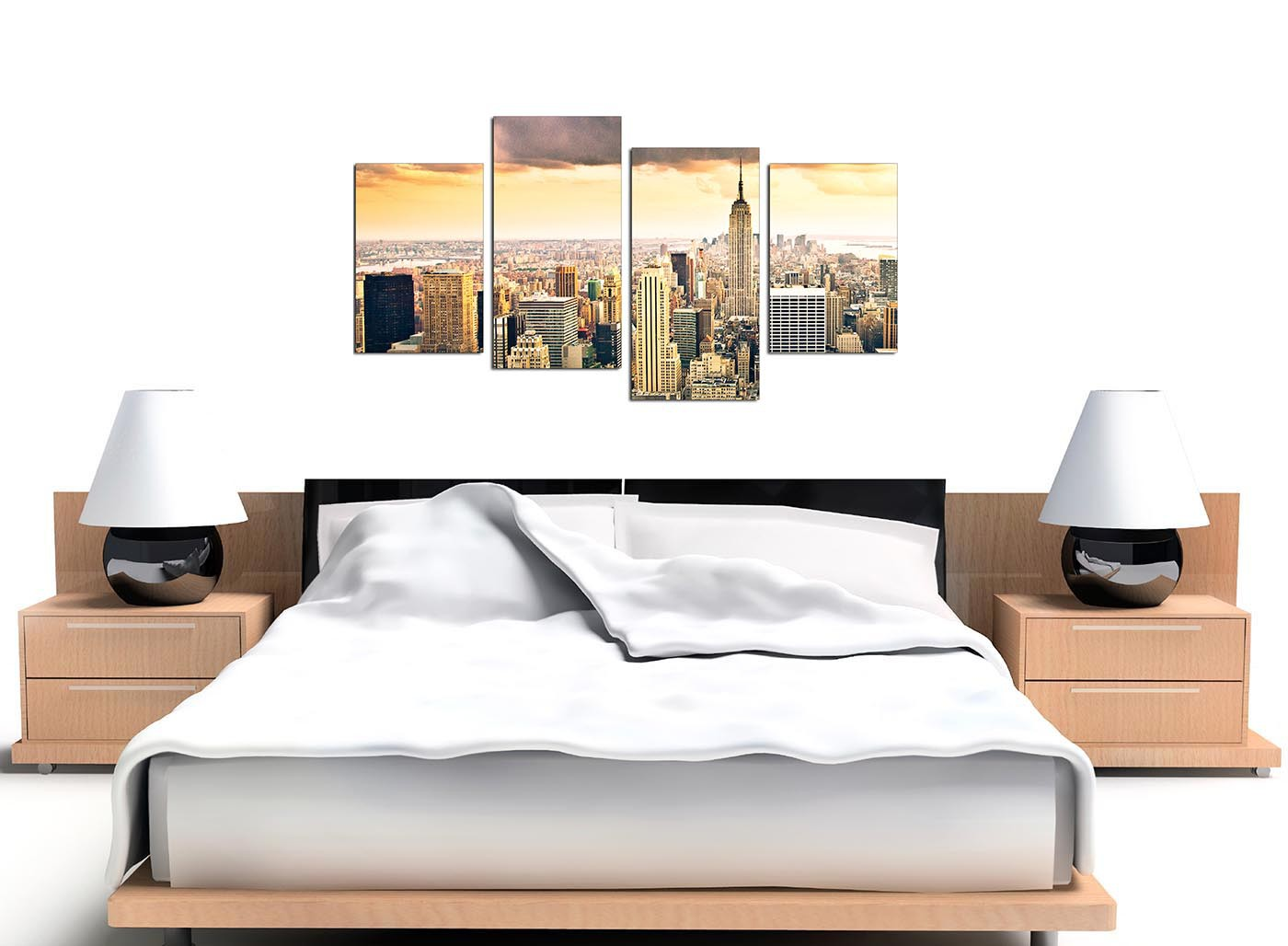 New York Skyline Wallpaper For Bedroom Canvas Art Of The New York Skyline For Your Bedroom Set Of 4