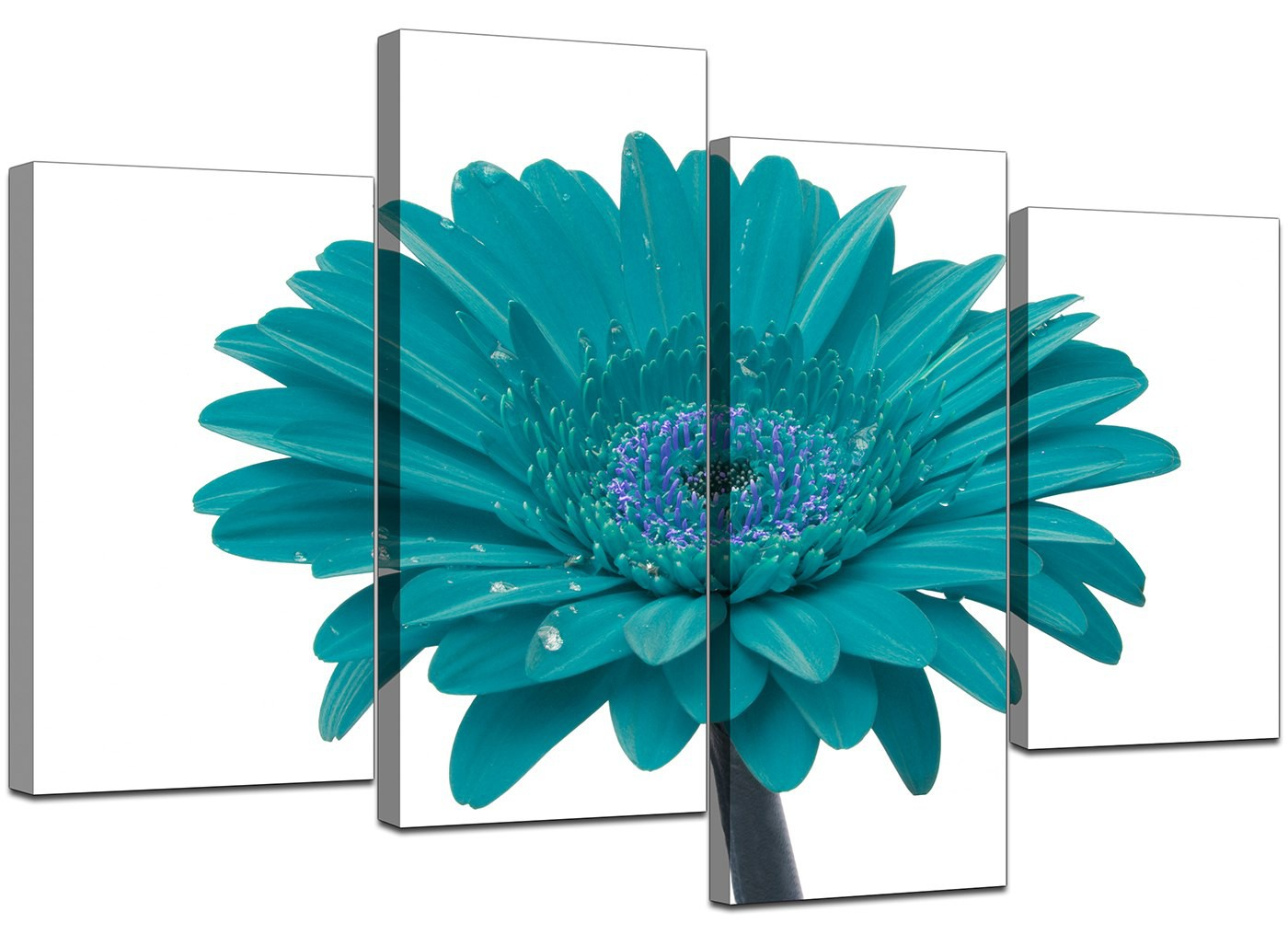 Canvas Wall Art Of A Flower In Teal For Your Living Room