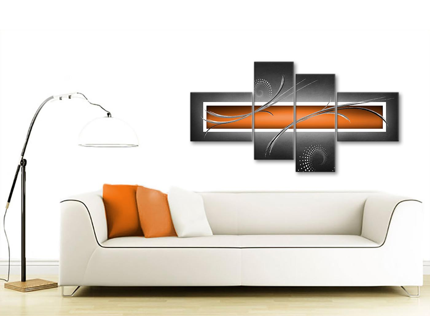 Large orange grey white modern abstract canvas wall art for Sofa bed 130cm wide
