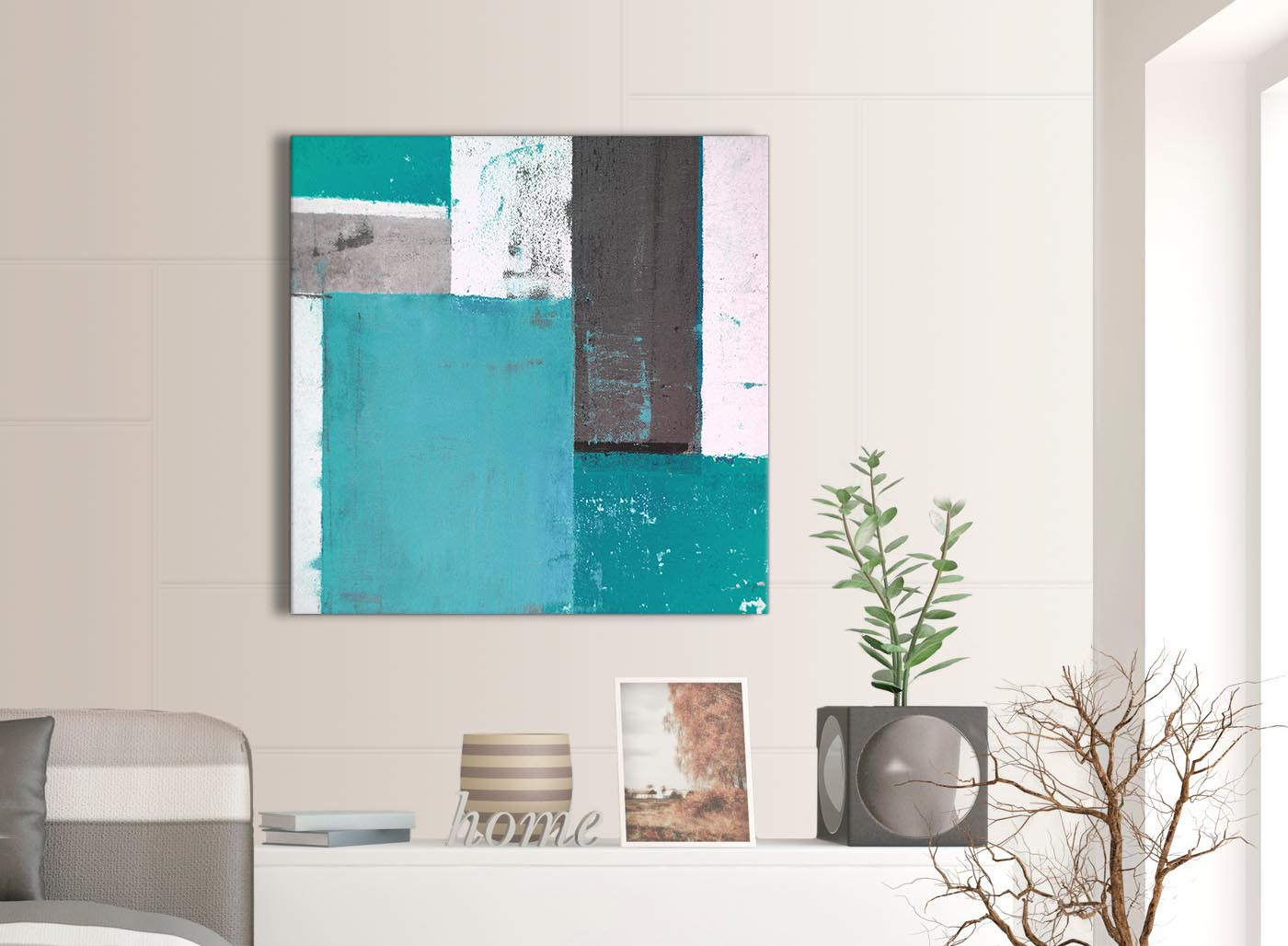 teal grey abstract painting canvas wall art modern 79cm square 1s344l. Black Bedroom Furniture Sets. Home Design Ideas
