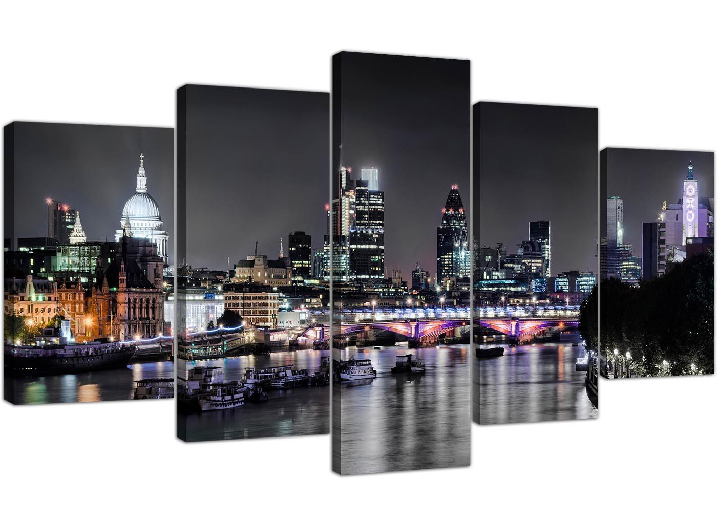 London Skyline At Night In Black White And Grey 5 Panel