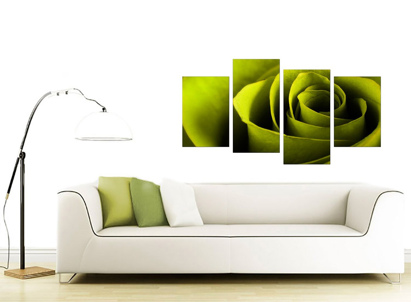 Canvas Wall Art Of A Rose In Green For Your Living Room