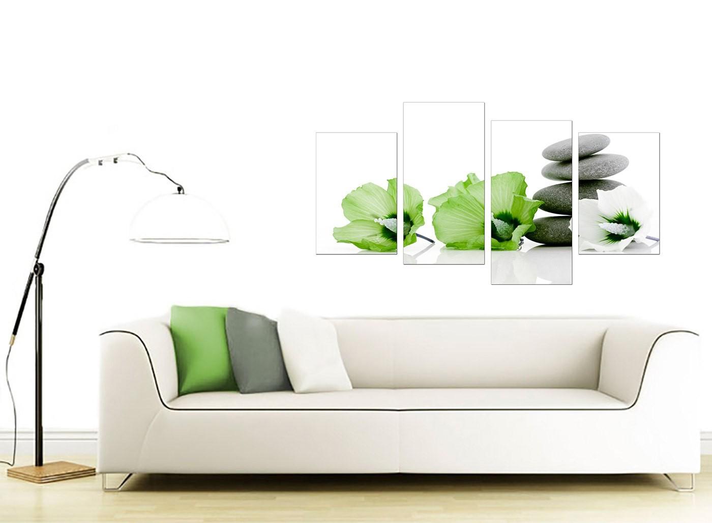 Lime Green White Grey Flowers Zen Floral Canvas   Split 4 Part   130cm    4070