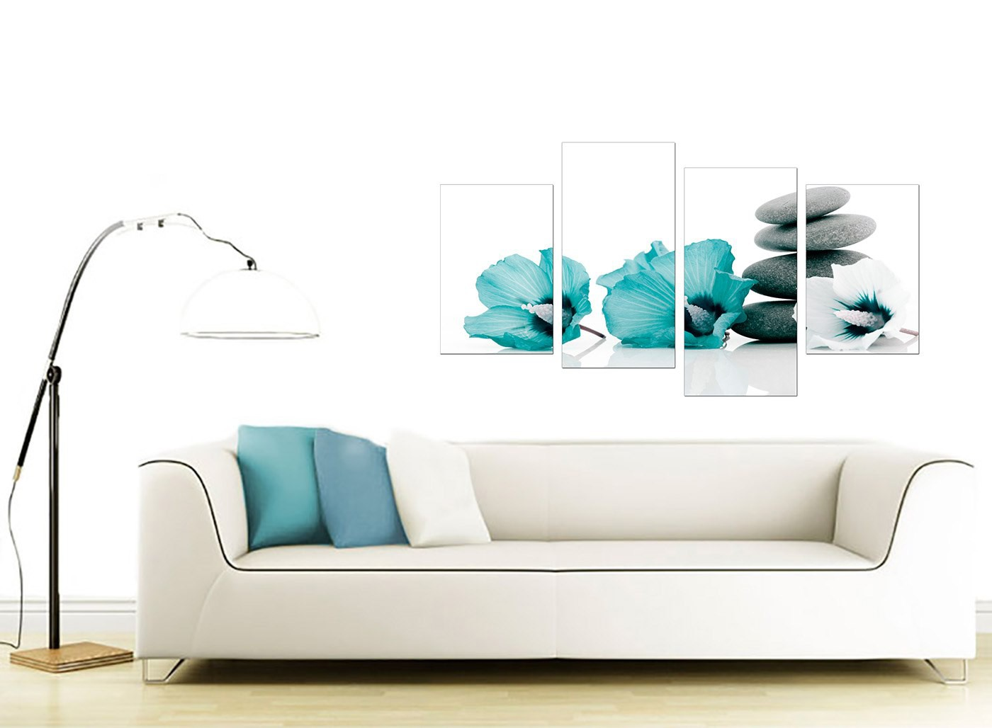 Canvas wall art of flowers in teal for your living room - Living room canvas art ...