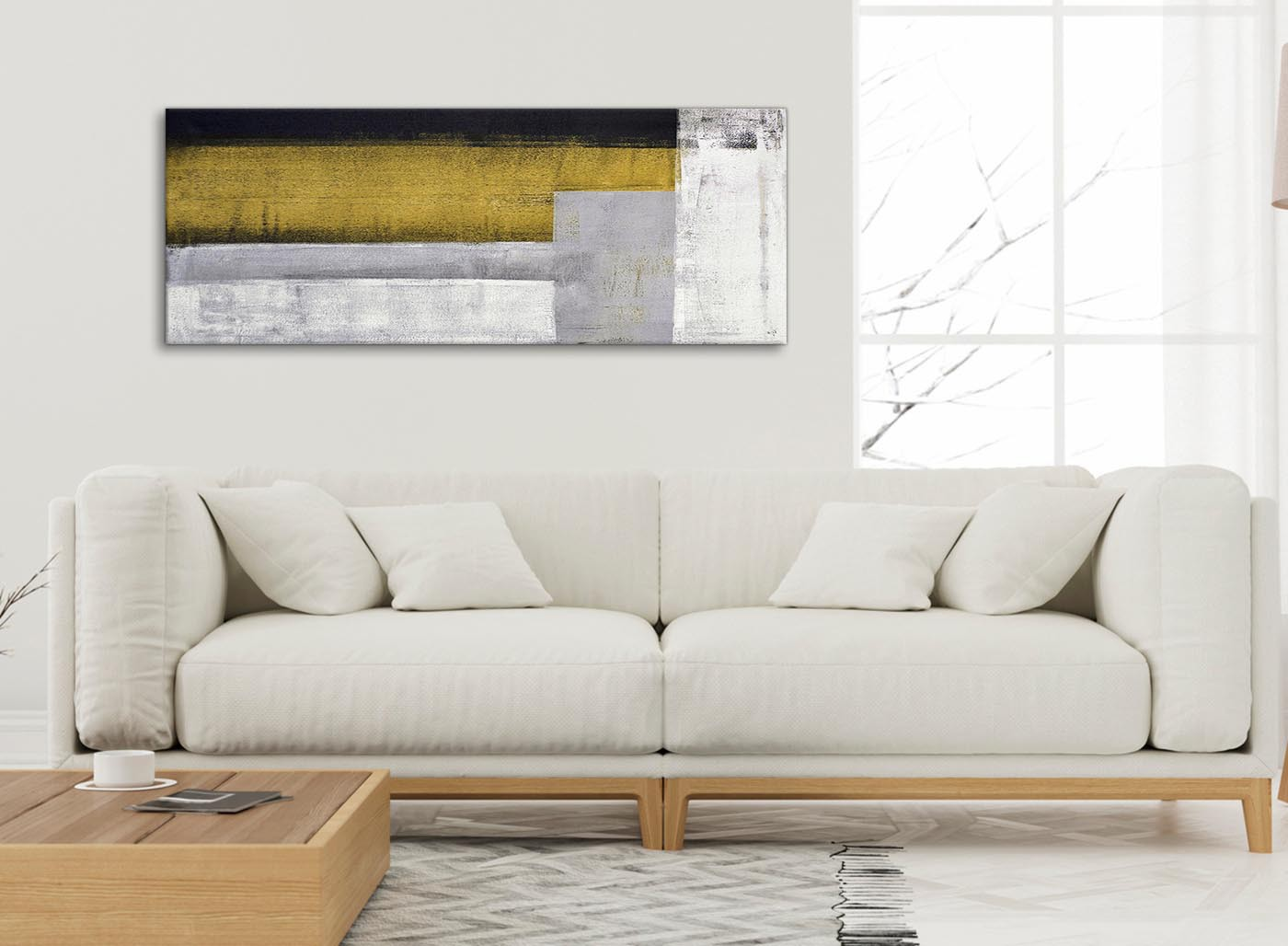 Mustard Yellow Grey Painting Living Room Canvas Wall Art Accessories    Abstract 1425   120cm Print Part 55