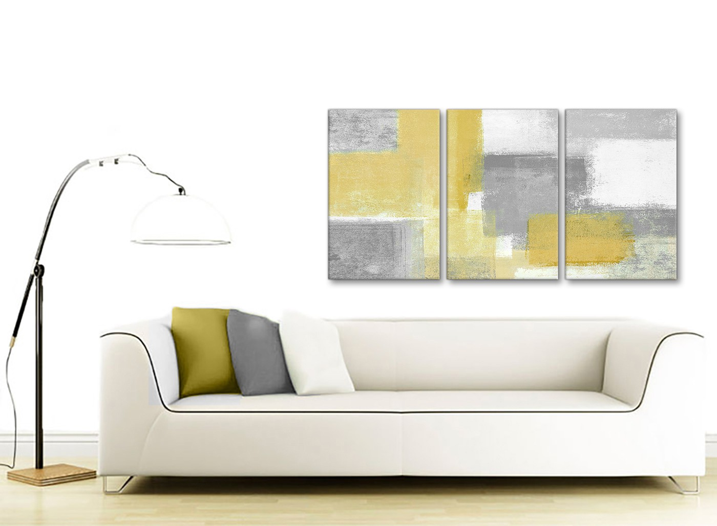3 Panel Mustard Yellow Grey Kitchen Canvas Wall Art Decor