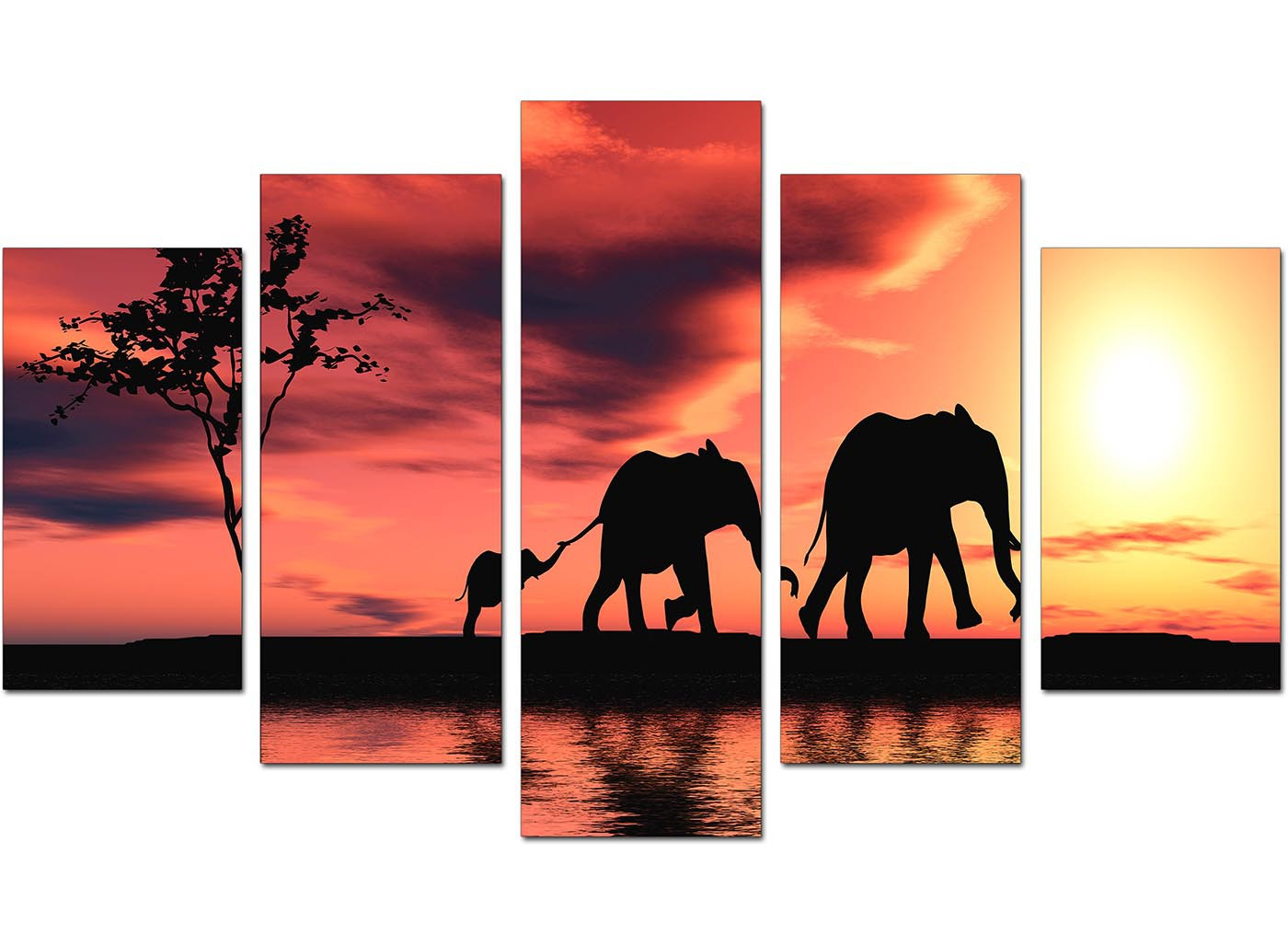 Extra Large Elephants Canvas Prints 5 Piece In Orange
