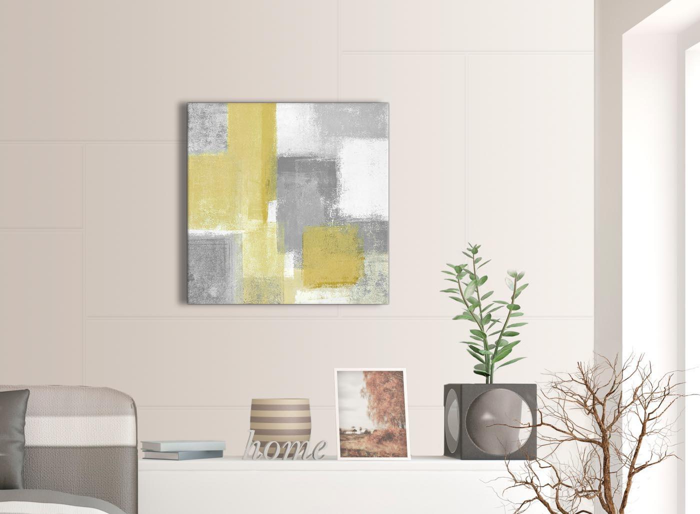 Mustard yellow grey kitchen canvas wall art decorations for Mustard yellow decor