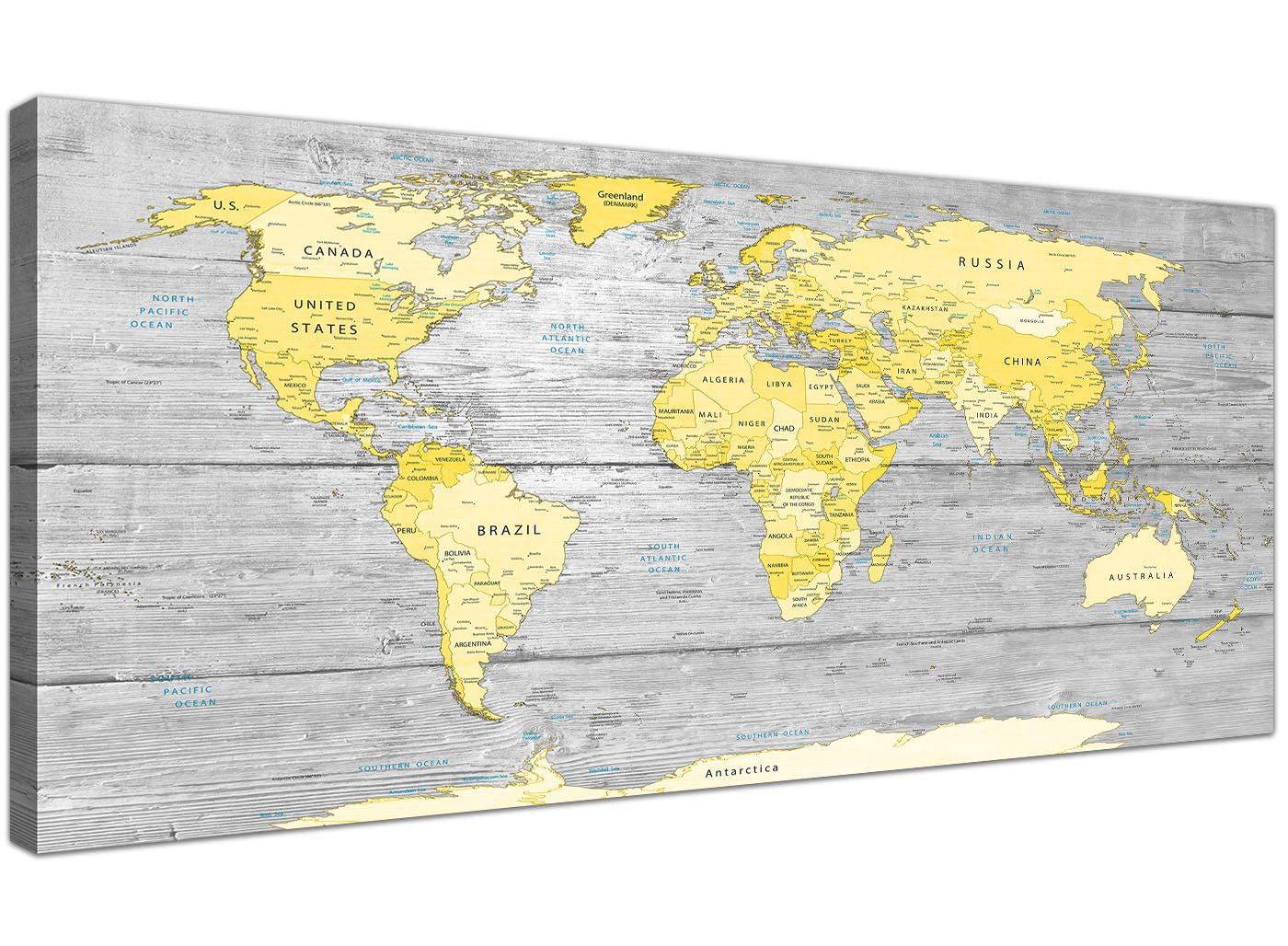 Large Yellow Grey Map Of World Atlas Canvas Wall Art Print