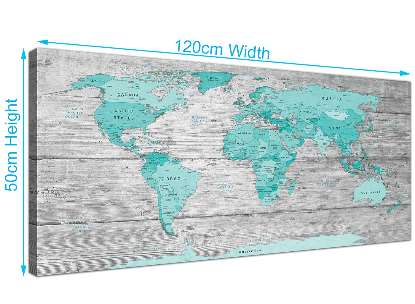 Large teal grey map of world atlas canvas wall art print 120cm overall size 120cm x 50cm gumiabroncs Image collections