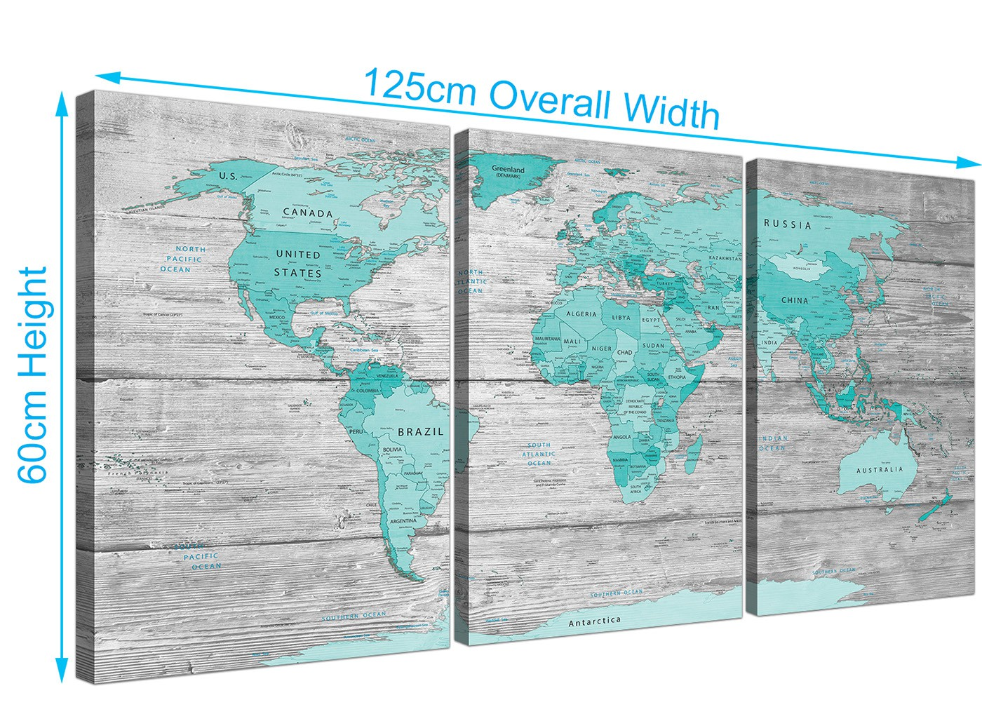 Large teal grey map of world atlas canvas print multi 3 panel 3299 overall size 125cm x 60cm gumiabroncs Gallery