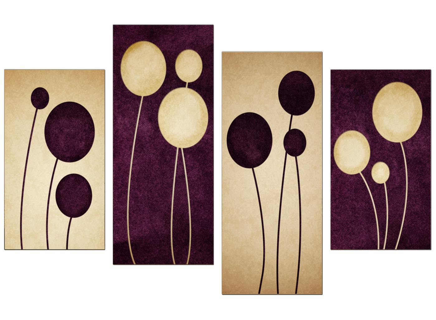 Purple Canvas Wall Art abstract canvas prints in purple for your living room - 4 panel