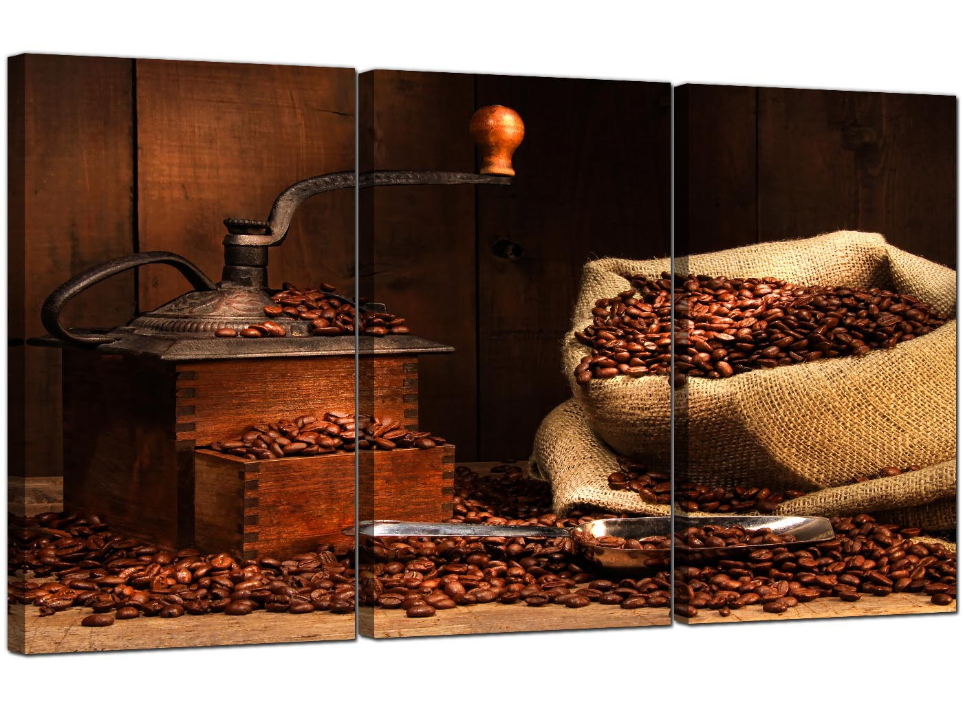 Coffee beans canvas wall art set of three for your dining room for Dining room wall art canvas
