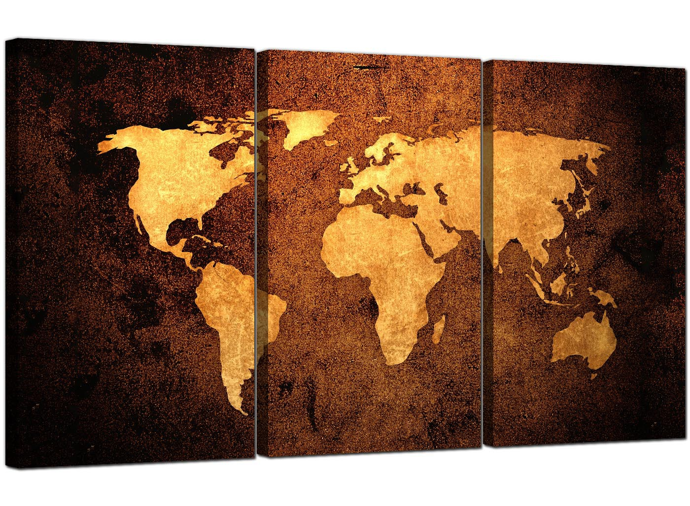 Vintage World Map Canvas Wall Art Set Of 3 For Your Bedroom