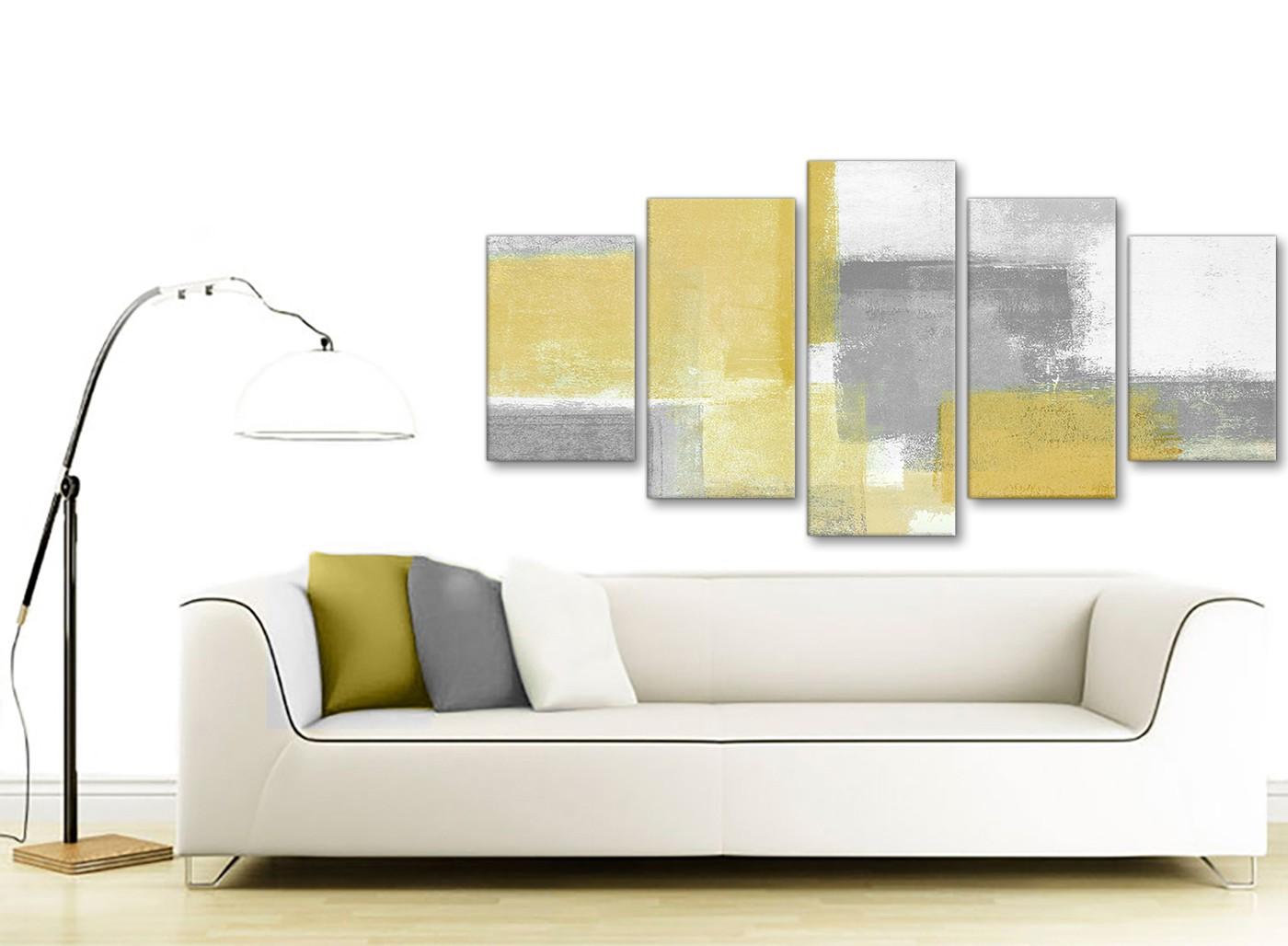 Piece Mustard Yellow Grey Abstract Living Room Canvas Wall Art Decor Set Artwork