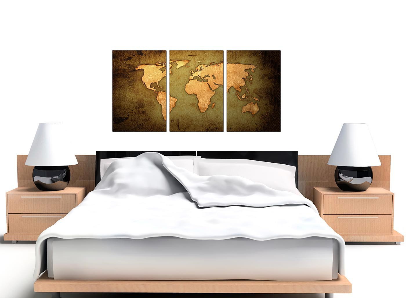 Vintage world map canvas art set of three for your study modern vintage old world map green gold canvas set of 3 125cm 3189 gumiabroncs Image collections