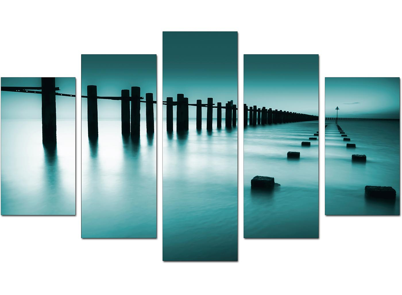 Extra Large Sea Canvas Wall Art Five Panel in Teal : teal canvas art landscape xl 5 part set 50891 from www.wallfillers.co.uk size 1400 x 1028 jpeg 106kB