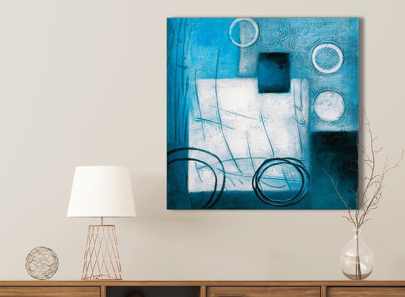 Teal White Painting Kitchen Canvas Pictures Accessories Abstract 1s432s 49cm Square Print