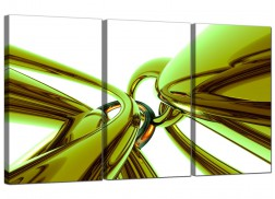 Cheap Abstract Canvas Prints UK 3 Panel in Green