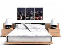 Large New York Skyline Canvas Pictures Set of 3 for your Office