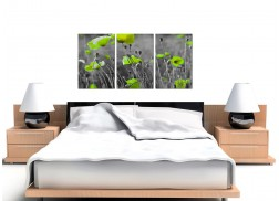 Green Poppy Canvas Wall Art 3 Part for your Living Room