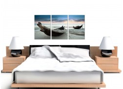 Cheap Beach Boats Canvas Wall Art Set of Three for your Living Room