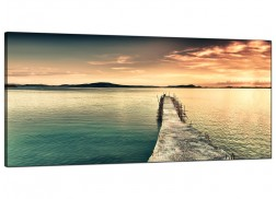 Wide Canvas Wall Art of a Lake Sunset for your Bedroom