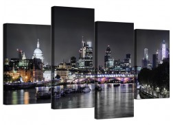 Canvas Wall Art of London Skyline for your Living Room - 4 Panel