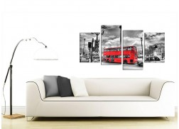 City London Canvas Prints of Red Bus in Black & White for Living Room