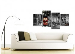 Canvas Prints of a Red London Night Bus in Black and White