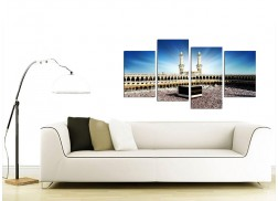 Islamic Canvas Wall Art of Kaaba Hajj in Mecca for Muslims - Set of 4