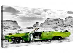Cheap Black and White Canvas Wall Art of a Green Car
