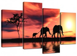 Canvas Prints of African Elephant in Orange for your Living Room