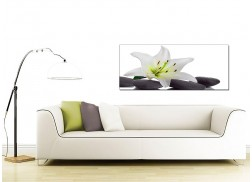 Large Black and White Canvas Prints of a Lily Flower