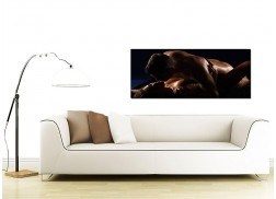 Large Brown Canvas Wall Art of an Erotic Couple
