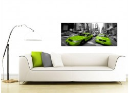 Large Black and White Canvas Pictures of Green New York Taxis