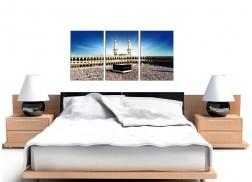 Islamic Mecca Kaaba at Hajj Cheap Canvas Art 3 Panel for a Dining Room