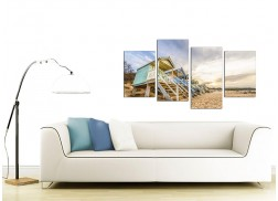 Canvas Wall Art of Beach Huts for your Living Room - Set of 4