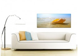 Modern Canvas Art of a Beach and Seashell for your Living Room