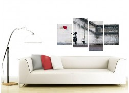 Large Banksy Canvas Prints - Balloon Girl Red