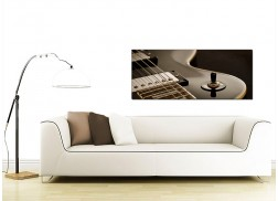 Large Black and White Canvas Pictures of an Electric Guitar