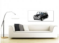 Cheap Black and White Canvas Pictures of a Mini Cooper Car
