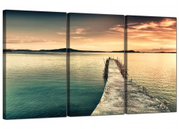 Large Lake Sunset Canvas Prints UK 3 Part for your Dining Room