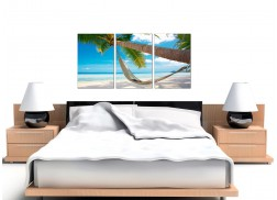 Cheap Tropical Beach Canvas Prints UK 3 Panel for your Bathroom
