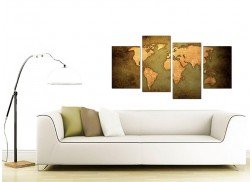 Canvas Prints of a World Map in Green and Brown for your Living Room