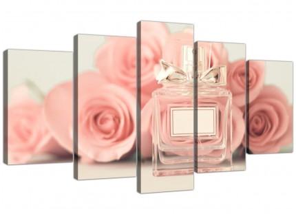 Extra Large Shabby Chic Pink Cream Rose Perfume Girls Bedroom Canvas Split 5 Set - 5285