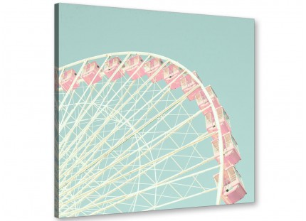 Shabby Chic Duck Egg Blue Pink Ferris Wheel Canvas Modern 64cm Square - 1s282m