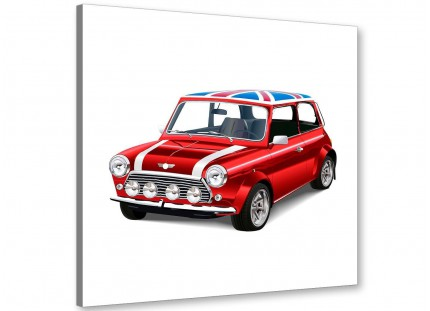 Mini Cooper Union Jack Canvas Modern 64cm Square - 1s277m