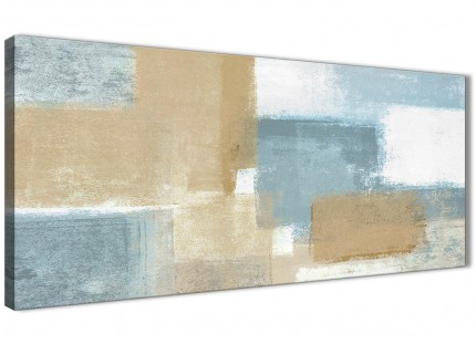 Blue Beige Brown Abstract Painting Canvas Wall Art Print - Modern 120cm Wide - 1350