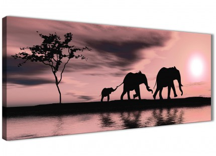 Blush Pink African Sunset Elephants Canvas Wall Art Print - Modern 120cm Wide - 1361